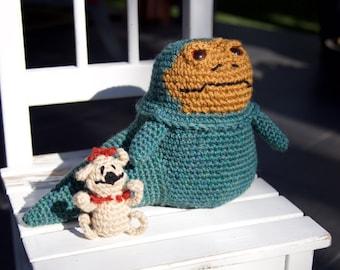 Star Wars Jabba the Hutt with Salacious Crumb Amigurumi, hand crocheted