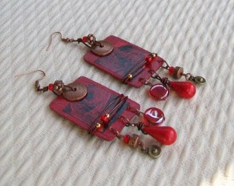 Earrings ethnic Bohemian spirit wood and copper