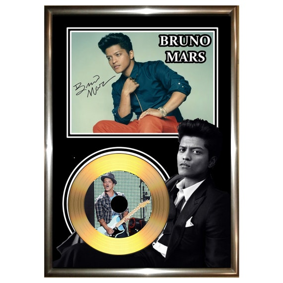 bruno mars signed framed gold vinyl cd by golddiscdisplays. Black Bedroom Furniture Sets. Home Design Ideas