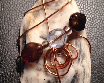 Copper wire wrapped Sea Shell - white/tan/gray