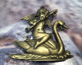 JJ Jonette Cherub Brooch Pin