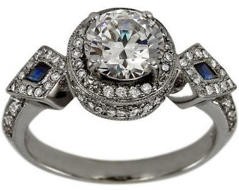 Diamond Engagement Ring In 14k White Gold With Side Blue Sapphires And Milgrain