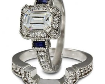 Diamond Bridal Set In White Gold With Blue Sapphire Accent & Milgrain Decoration