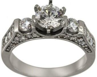 Diamond Engagement Ring Setting With 3/4 ct Pave Diamonds