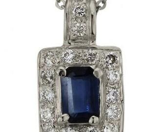 Blue Sapphire Emerald Cut In Classic Diamond Pendant 14K