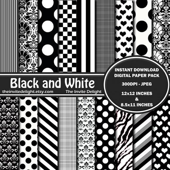Très Pack de papier numérique noir et blanc Damas noir et blanc BC66
