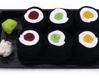 Sushi Socks Box 3 pairs Tuna Maki Cucumber Maki Oshinko Maki Cool Gift Present Gadget