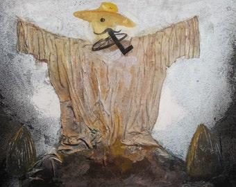 Vintage oil collage painting scarecrow portrait