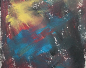 Abstract expressionist vintage oil painting