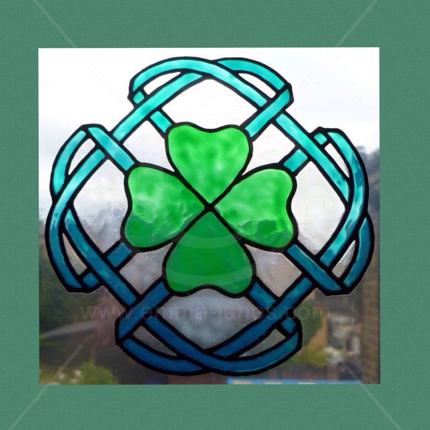 Handpainted celtic clover window cling for glass mirtor for Make your own stained glass window film