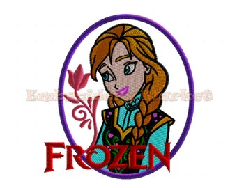 princess anna embroidery Design for Embroidery Machines 2 sizes - Instant Download