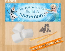 Do You Want to Build a Snowman Frozen Favor Bag Toppers, INSTANT DOWNLOAD - Disney Frozen Treat Bag Topper, Birthday Party Printable Olaf