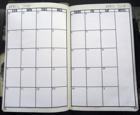 Monthly Calendar Notebook : Items similar to blank two page monthly calendar for large