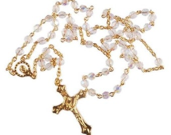 Crystal Bead Holy Communion Rosary Beads. A Lovely First Holy Communion Rosary Gift. Perfect Baptism Gift.