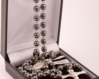 Sterling Silver Rosary Beads with Haematite Beads. A High Quality Hand Made Rosary. Beautiful First Holy Communion Present.