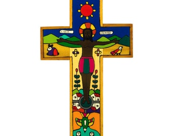 New Creation wood cross. Hand painted wooden crucifix. 15cm wooden crucifix.