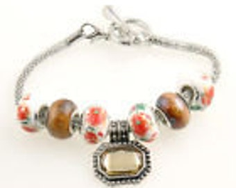 Handmade Lampwork Glass Crystal Silver European Beaded Charm Bracelet