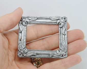 Dolls house miniature picture frame antique vintage silver