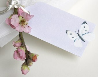 5 x Wedding Favor Tags - Butterfly or Rose