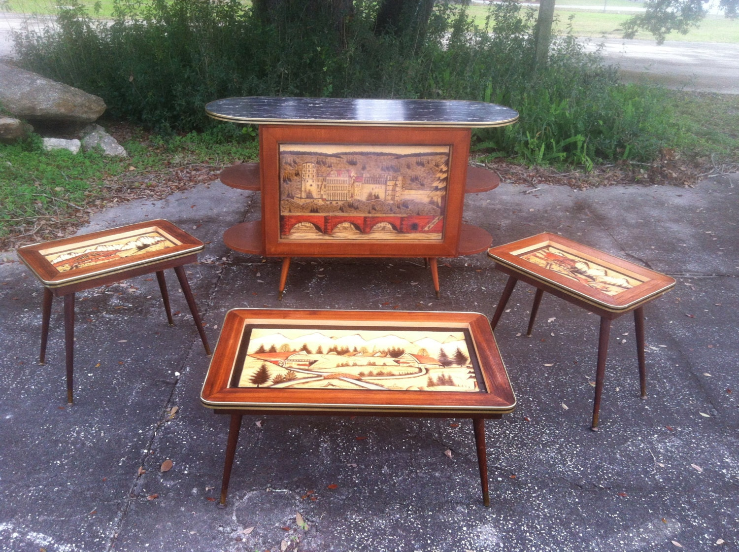 Black Forest Wood Hand Painted Amp Carved Lot Of 4 Tables
