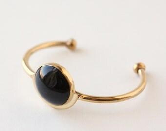 Demi Cuff Bracelet - Handmade Brass and Black Onyx