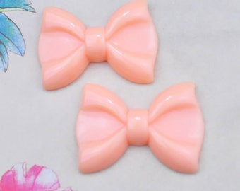 5pcs Large Pink Resin Tie Butterfly Knot Flower ,bow bowknot charms--60x43mm