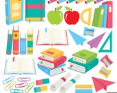 School Supplies Digital Clipart, Books Clipart, Pencil Clipart
