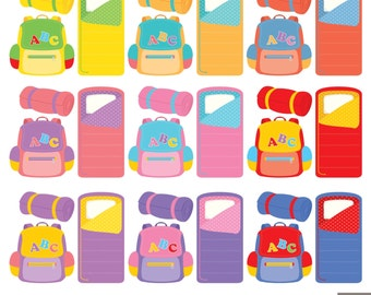 School Backpacks and Sleeping Bags Digital Clipart