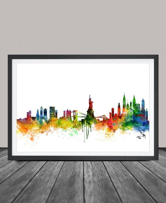 Watercolor New York: New York Skyline Watercolor Print NYC Cityscape Art Print