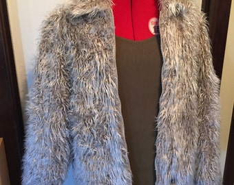 90s fuzzy zip up jacket