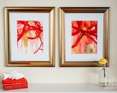 Paschal // pair of original abstract paintings, acrylic ink and gold leaf. Red, white, and gold.