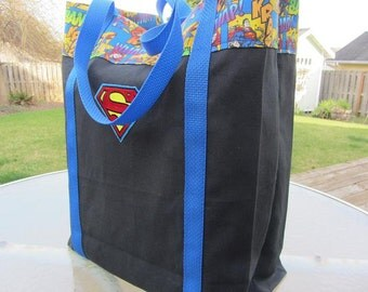 Large Canvas Superman Tote Bag