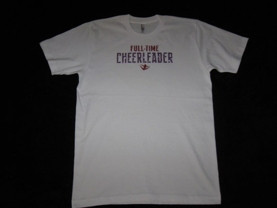 Custom Cheer Shirt Size Medium in White Has Full-Time Cheerleader in Pink and Violet Glitter