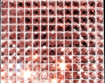 """20 Pink Mirror faceted crystal bling tile 3/4"""""""