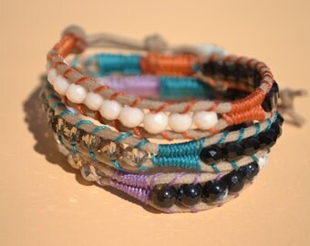 Braided wrap bracelet 3 rounds with fantasy style Crystal chan-lu