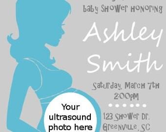 Printable baby boy ultrasound baby shower invitation