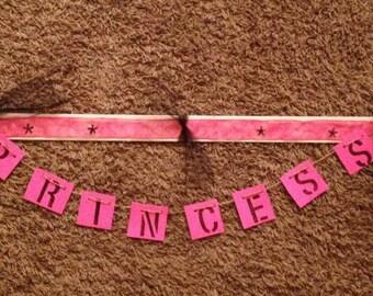"PRINCESS Wall Decoration Banner 42"" Wide- Decor Pink Girl Room Decoration"