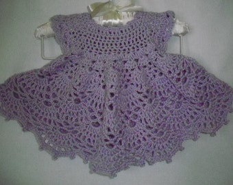 Crochet purple preemie baby or doll dress  -4211502