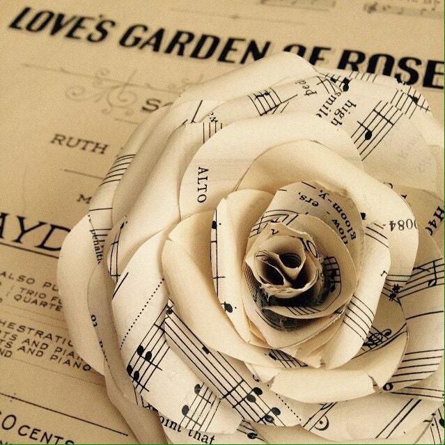 Vintage sheet music paper roses handmade for Paper roses sheet music free