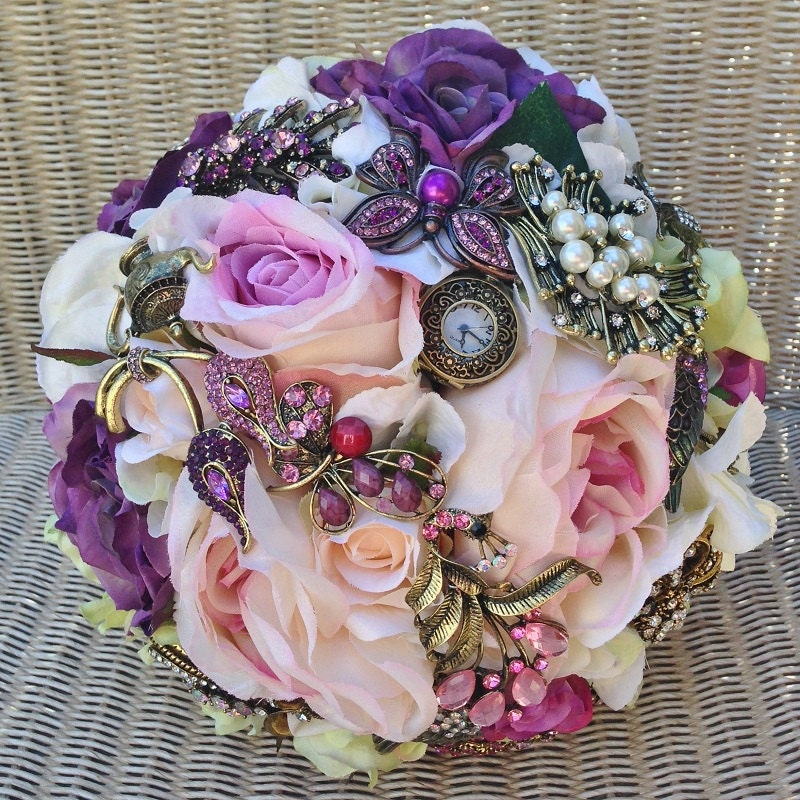 FULL PRICE (not a deposit) Lilac, Purple, Pale Pink, and Green Vintage Antique Jewelled Steampunk Bridal Brooch Bouquet: Elizabeth steampunk buy now online