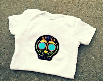 Sugar Skull Onesie baby layette Day of the Dead