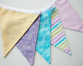 Pastel Fabric Bunting Banner, Flag Banner, Double Sided, Easter Bunting, Spring Bunting, Baby Shower Banner, Nursery Decor, Birthday Bunting