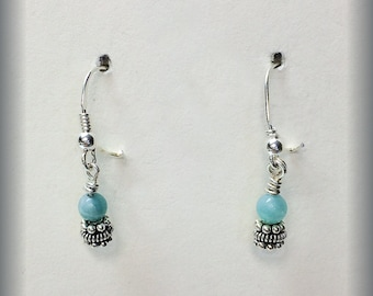 Petit Amazonite and Sterling Silver Earrings
