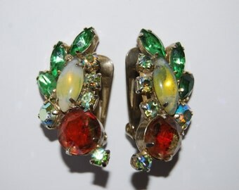 Juliana? Parrot Colored Rhinestone Wing Earrings