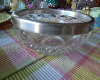 GERMANY CRYSTAL BOWL with Silver Plate Rim