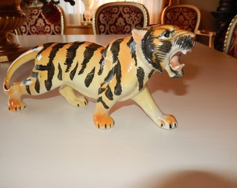 VINTAGE HAND PAINTED Tiger