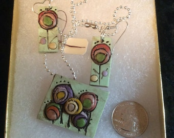 Mod Polymer Tree Necklace and Earring Set