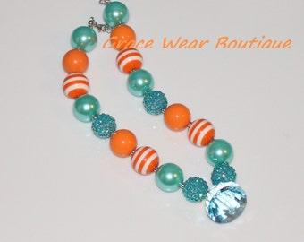 Aqua and Orange Chunky Bubblegum Necklace