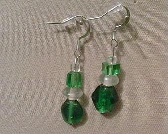 Green/white glass dangle earrings