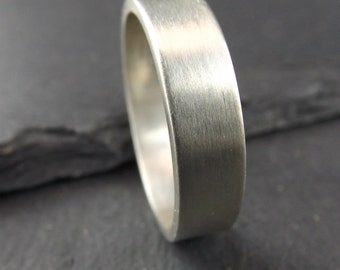 Sterling Silver Ring with a Satin Finish - silver wedding ring - mens wedding band - mens wedding ring - handmade silver ring - Wedding Ring